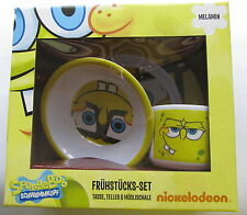 Frühstücksset * 3teilig * Sponge Bob * Neu + OVP * Teller Schale Tasse * Melamin