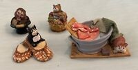 Vintage Peter Fagan Cats Figurines Handmade in Scotland Lot Of 4