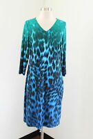 Chico's Blue Green Ombre Cheetah Print V-Neck Shift Dress Chicos Size 0 Leopard