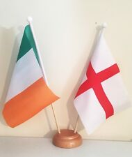 ST GEORGE AND IRELAND 9X6 inch 22.5cm x 15cm TABLE FLAG TWIN SET WOODEN BASE