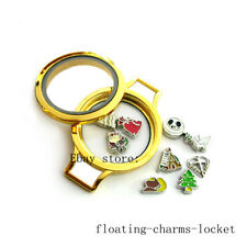 Memory Glass Wrist Locket for Bracelet Gold Plain Screw Top Floating Charms