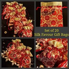20* Red Paisley Mehndi Wedding Table Decoration Bidh Giveaway Favour Gift Bags
