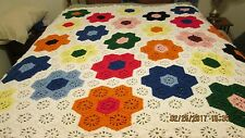 Handmade Daisy Afghan with Ruffled Top and Bottom 65 x 63