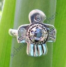 Ring Adler Vogel m Stein Bergkristall Sterling Silber 925 Kraft Tier d Indianer