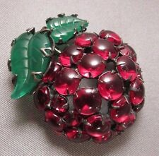 Vintage Apple Cherry Brooch Fruit Salad Carved Glass Cabochon Figural Japanned