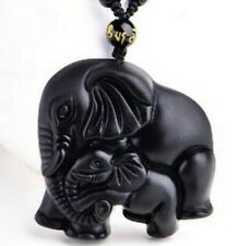 Black Obsidian Jewellery Mother Elephant & Cute Baby Fashion Pendant Necklace