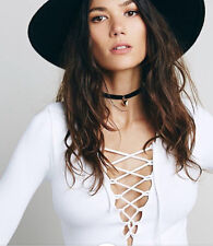Free People OB479536 Lace Up Long Sleeve Ribbed Super Stretch Top White XS/S