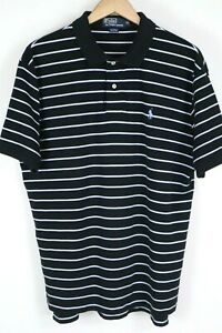 Polo Ralph Lauren Mens Sz XL Black White Striped S/S Shirt Light Blue Pony