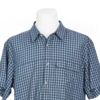 The North Face Short Sleeve Blue Check Fishing Hiking Outdoor Shirt Mens XL