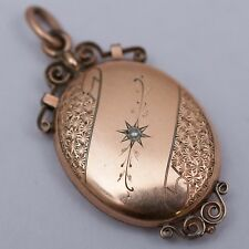 ANTIQUE VICTORIAN ROSE GOLD FILLED GF PEARL GLASS LOCKET PENDANT