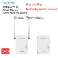 2pcs 300Mbps WiFi Powerline Ethernet Adapter Wireless Gigabit AV600 Homeplug Kit