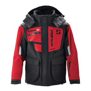 Striker Ice Men's Fishing Waterproof Cold Weather Climate Jacket in Black/Red