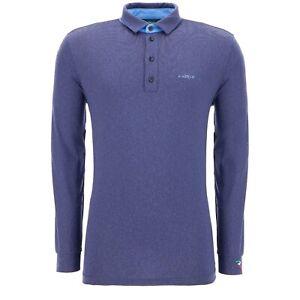 NWT Chervo Men's Allegretti Long Sleeve Polo Shirt 63331 73E Blue Italian  54