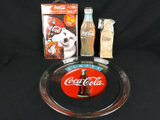 Coca Cola Lot of 4 Collectible Glass Plate Wood Puzzle Decal Sticker Tin Coke