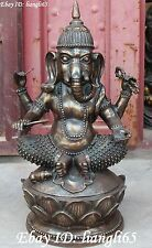 "23"" China Bronze Seat Four Arms hand Ganapati mammon Elephant God Buddha Statue"