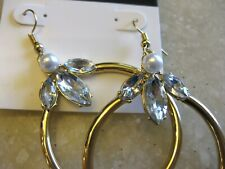 NINE WEST Gold Tone Pierced Dangle Earrings w/ Rhinestone & Faux Accents NOC