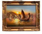 Stunning Oil painting on Canvas, Seascape, Sailing Ships at Sunset, Framed