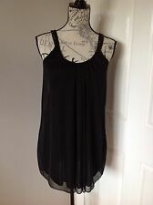 Miss Selfridge Size 6 Petite, Sheer Black Long Top, With Beaded Detailed Straps.