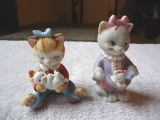 "Vintage Set Of 2 1993 BC Cat Figurines "" BEAUTIFUL COLLECTABLE SET """