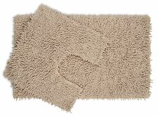 2 piece Latte Chenille Cotton Bath Mat and Pedestal Set with Anti Slip Back