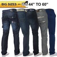 "Enzo Mens Big Tall Jeans Leg King Size Denim Pants Chino Trousers Pants 44"" -60"""