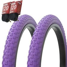 "1PAIR! Bicycle Bike Tires & Tubes 20"" x 2.125"" Purple/Purple Side Wall BMX COMP3"