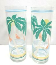 2 Vintage Tall Highball Glasses With Teal Palm Tropical Trees Summer Drinks