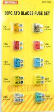 20 piezas hoja fusibles 5 A 7.5 A 10 A 15 A 20 A 25 A 30 A Coche Furgoneta Moto Surtido Set Auto