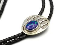 Bear Paw Mens Bolo Tie, 925 Sterling Silver And Azurite Malachite Stone Necklace