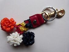 DOLCE & GABBANA Keyring Multicolor Raffia Leather Clasp Finder Chain RED