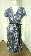 DKNY Donna Karan New York Womens Short Sleeve Belted Wrap Print Jersey Dress XS