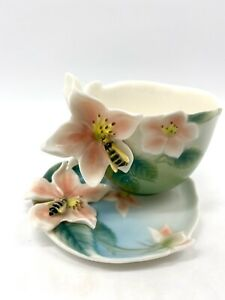 Franz Porcelain Bee Tea Cup & Saucer Set Numbered Signed Honey Bee Floral