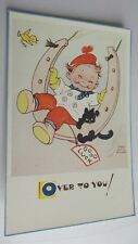 """ORIGINAL MABEL LUCIE ATTWELL POSTCARD 5328 """"GOOD LUCK"""" OVER TO YOU!"""