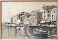 Henri GUILLOT 1895-1982.Saint-Tropez.Lavis d'encre.SBD.37x53.Cadre.