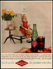 1959 ROYAL CROWN Cola - Cute Girl Is Served RC Soda - Antique Chair VINTAGE AD