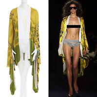 runway GUCCI TOM FORD Vintage SS03 yellow oriental kimono robe jacket FR40 US8 M