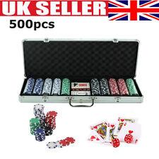 More details for 500 pcs casino vegas poker chips set texas holdem cards dice decks casino game