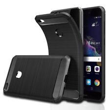 Huawei P8 Lite 2017 Hülle Schwarz,Schutzhülle Tasche Case Karbonfaser Elastisch