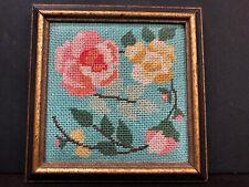 Antique Framed Wood Framed Handmade Flowers Needlepiot 1922