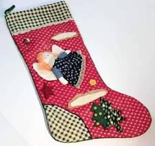 Vintage Handmade Christmas Stocking Angel Country Style Fabric