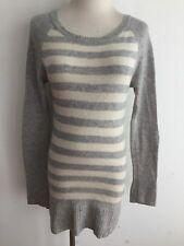 C&C California Cashmere Tunic Sweater Beige & Gray Heather Stripes Size S