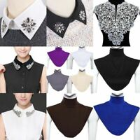 Women Ladies Lace False Collar Fake Half Shirt Blouse High Detachable Colla X4S2