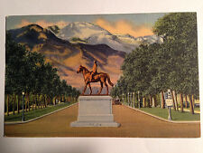 COLLECTABLE-VINTAGE POST CARD-MONUMENT TO GENERAL WM. J. PALMER FOUNDER OF PIKES