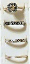 Rings Made with Swarovski Crystal  SFPewter Clear Assorted Design Size 8, 4 Lot