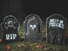 Light Up Strobing Tombstone Gravestone Spooky Halloween Party Decoration Prop