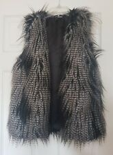 Divided Ladie's White/Brown Faux Fur Sleeveless Gilet Top Jacket Size UK 12