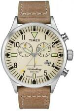 Orologio Uomo TIMEX The WATERBURY TW2P84200 Chrono Pelle Beige Sabbia Classico