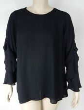 City Chic Black Long Sleeve Frill Me Top Tunic Plus Size M 18 #t2