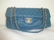 CHANEL HANDBAG Blue Leather Matelasse Gold Shoulder Chain Strap Very Good