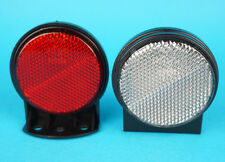 2 x Red & White Outline 60mm Reflectors & Mounting Bracket - Erde Daxara Trailer
